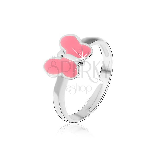 Pierścionek dziecięcy srebro 925 - różowy motylek