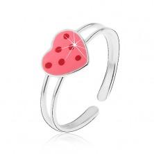 Srebrny pierścionek srebro 925 - różowe serce, na nogę