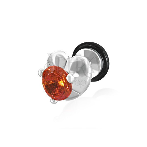 Oszukany plug do ucha - serce i pomarańczowo-czerwona cyrkonia
