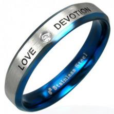 Stalowy pierścionek LOVE DEVOTION z cyrkonią