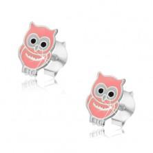 Srebrne kolczyki 925 dla dzieci - mądra sowa
