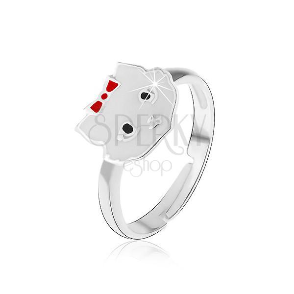 Pierścionek dla dzieci ze srebra 925 - biały kot