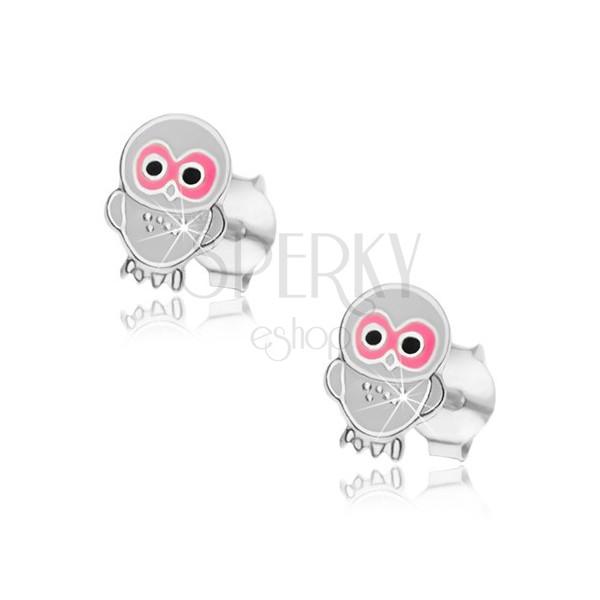Srebrne kolczyki 925 - mała sowa