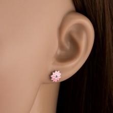 Srebrne kolczyki wkręty 925 - różowy kwiat z cyrkonią