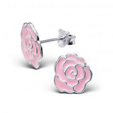 Srebrne kolczyki wkręty 925 - róża