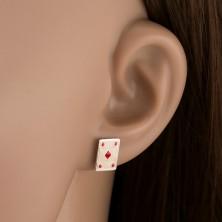 Srebrne kolczyki 925 - karta czerwone karo
