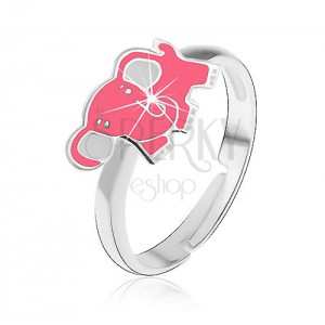 Srebrny pierścionek dziecięcy 925 - różowy słoń