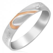 Stalowy pierścionek - połówka serca, lustrzany połysk