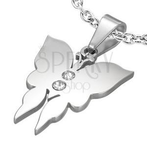 Wisiorek ze stali, mały motyl z dwiema cyrkoniami