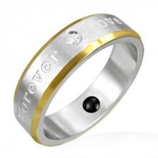 Pierścionek magnetyczny ze stali - złote krawędzie, romantyczny napis