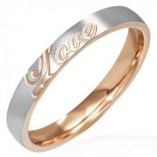 Stalowy pierścionek - miedziano-srebrny, Love
