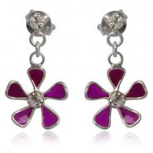 Srebrne kolczyki 925 - fioletowy kwiatek na łańcuszku