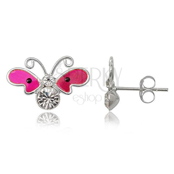 Kolczyki ze srebra 925 - neonowo różowy motyl z cyrkoniami