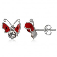 Kolczyki ze srebra 925 - czerwony, latający motylek
