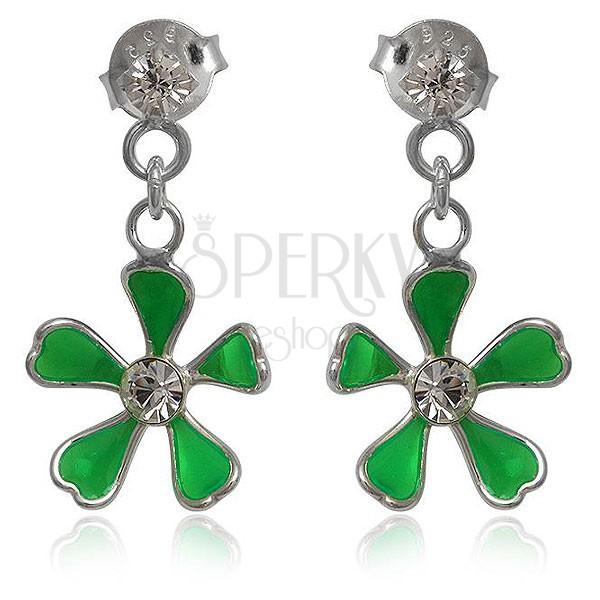 Srebrne kolczyki 925 - zielony kwiatek na łańcuszku