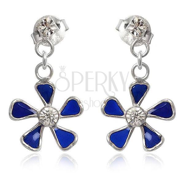 Kolczyki ze srebra 925 - niebieski kwiatek wiszący na łańcuszku