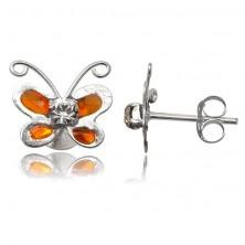 Srebrne kolczyki 925 - pomarańczowy motylek z przezroczystą cyrkonią