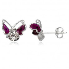 Srebrne kolczyki 925 - latający motylek, fioletowy z kropką