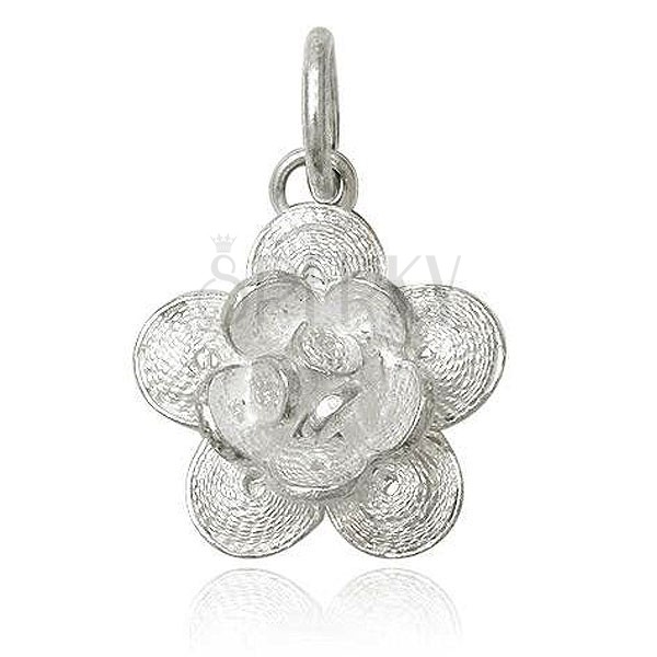 Wisiorek ze srebra 925 - filigranowy kwiatek, kwitnący