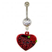 Kolczyk do pępka - czarno-czerwone serce i kółka, różyczka