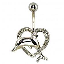 Kolczyk do pępka - delfin skaczący przez serce