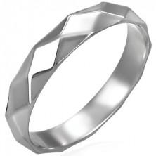 Damski stalowy pierścionek, błyszczący wzór romby