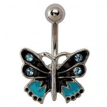 Kolczyk motylek - czarny, niebieski i srebrny kolor, cyrkonie