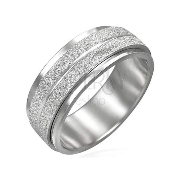 Stalowy pierścionek z ruchomym środkowym pasem, szlifowany matowy