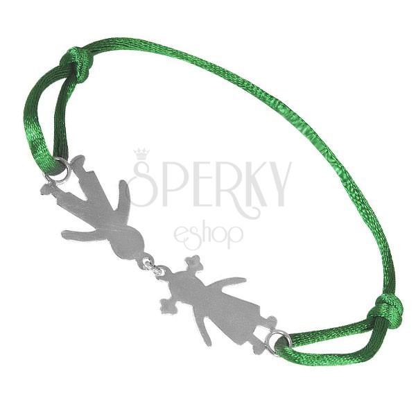 Srebrna bransoletka 925 - chłopiec i dziewczynka, zielony sznurek