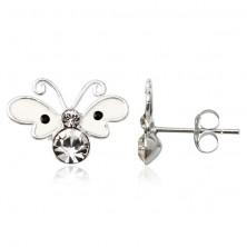 Kolczyki ze srebra 925 - beżowy motylek z kropką, cyrkonie na tułowiu