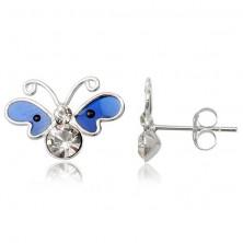 Kolczyki motylek ze srebra 925 - ciemnoniebieskie emaliowane skrzydła, cyrkonie