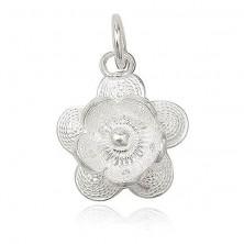 Srebrny wisiorek 925 - filigranowy kwiatek, kuleczka