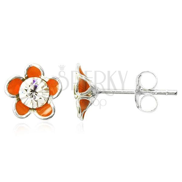 Kolczyki srebrne 925 - pomarańczowy kwiatek w glazurze, z cyrkonią