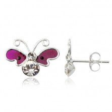 Kolczyki srebrne 925 sztyfty - motyl, fioletowe skrzydła, cyrkoniowe ciało