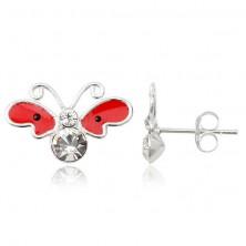 Kolczyki srebrne 925 - motyl, czerwone skrzydła z czarnymi kropkami