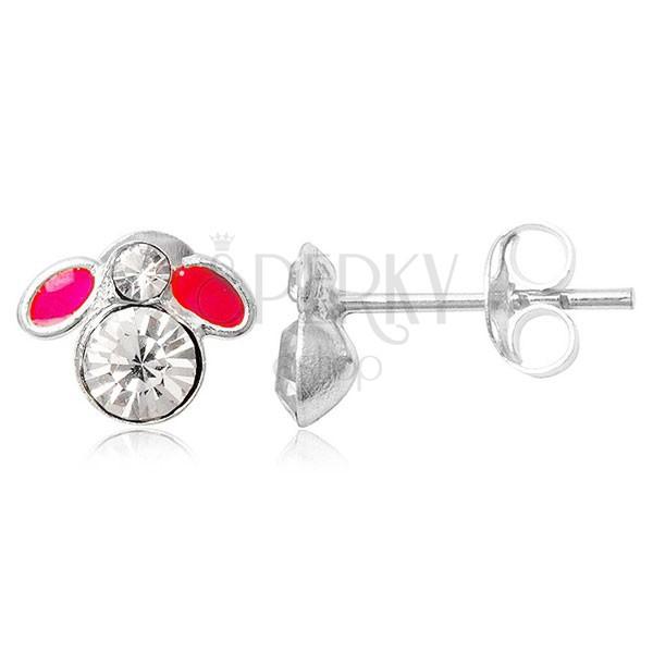 Kolczyki ze srebra 925 sztyfty - mała różowa muszka