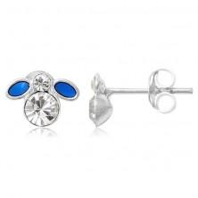 Kolczyki srebrne 925 - mała niebieska muszka z cyrkonią
