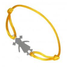Srebrna bransoletka 925 - dziewczynka na żółtym sznurku