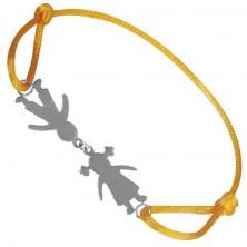 Bransoletka ze srebra 925 - chłopiec i dziewczynka na żółtym sznurku, połączeni przy głowach
