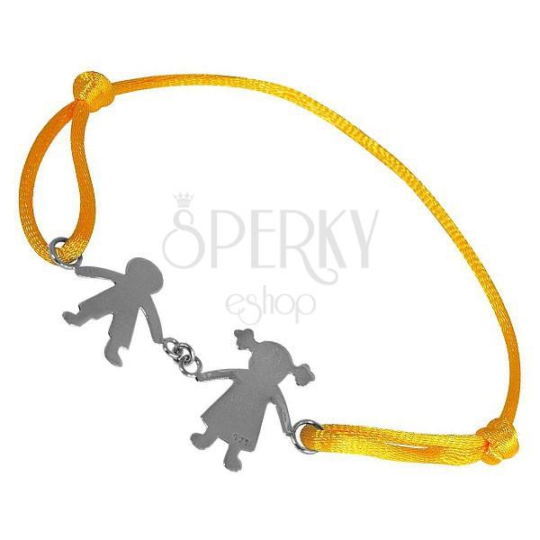 Bransoletka ze srebra 925 - chłopiec i dziewczynka na żółtym sznurku, połączeni za ręce