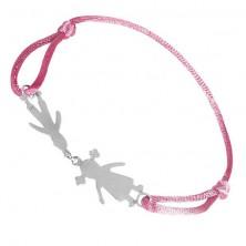 Bransoletka ze srebra 925 - chłopiec i dziewczynka na różowym sznurku