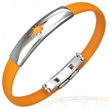 Gumowa bransoletka wzór gwiazda, pomarańczowa