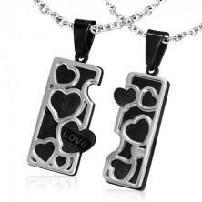 Stalowa zawieszka dla dwojga - czarna tabliczka, srebrne kontury serc
