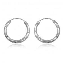 Kolczyki ze srebra 925 - okrągłe, skręcone, 20 mm
