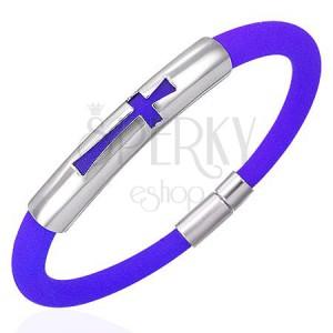 Silikonowa bransoletka okrągły przekrój, stalowa wstawka z krzyżem, niebieska