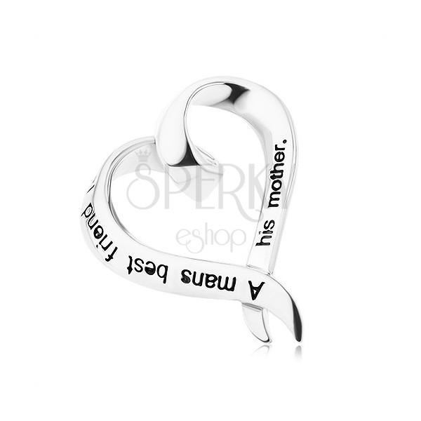 Srebrny wisiorek 925 - skręcone serduszko z napisem
