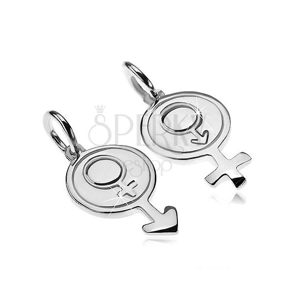 Wisiorki ze srebra 925 dla pary - okrągły symbol płci mężczyzny i kobiety