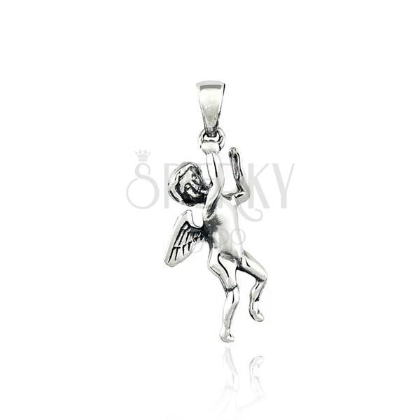Wisiorek ze srebra 925 - aniołek, małe skrzydła, 35 mm