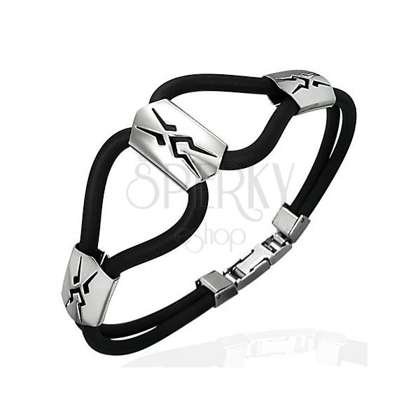 Silikonowa bransoletka trzy stalowe plemienne wstawki, czarna