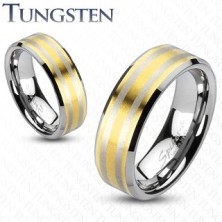 Tungsten obrączka pozłacana, z dwoma prążkami